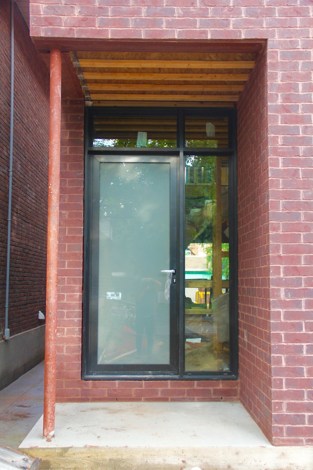 Entry door system with etched glass for privacy