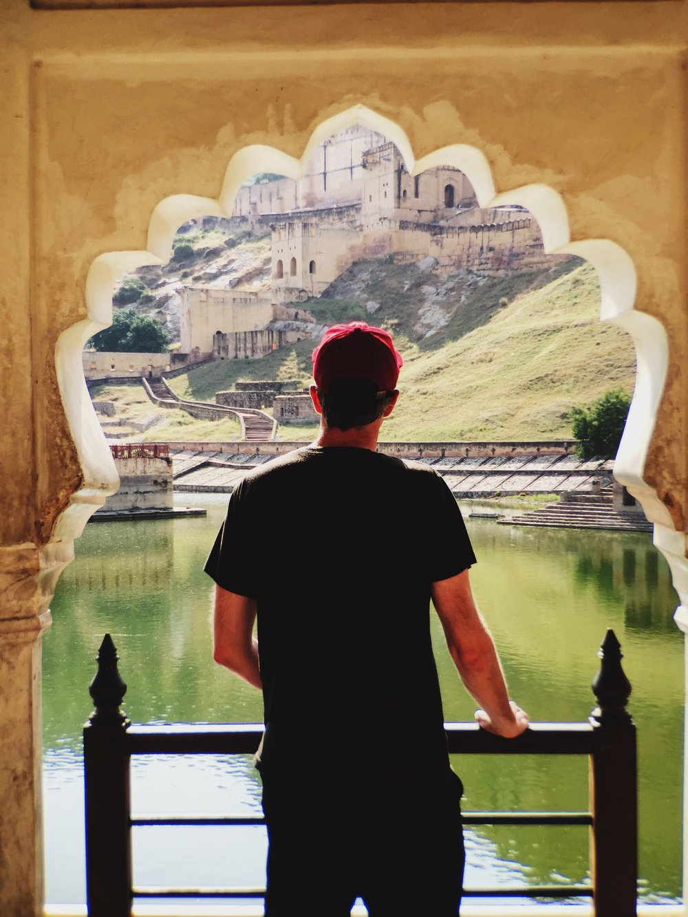 kyle checking out amber fort just outside of jaipur in india
