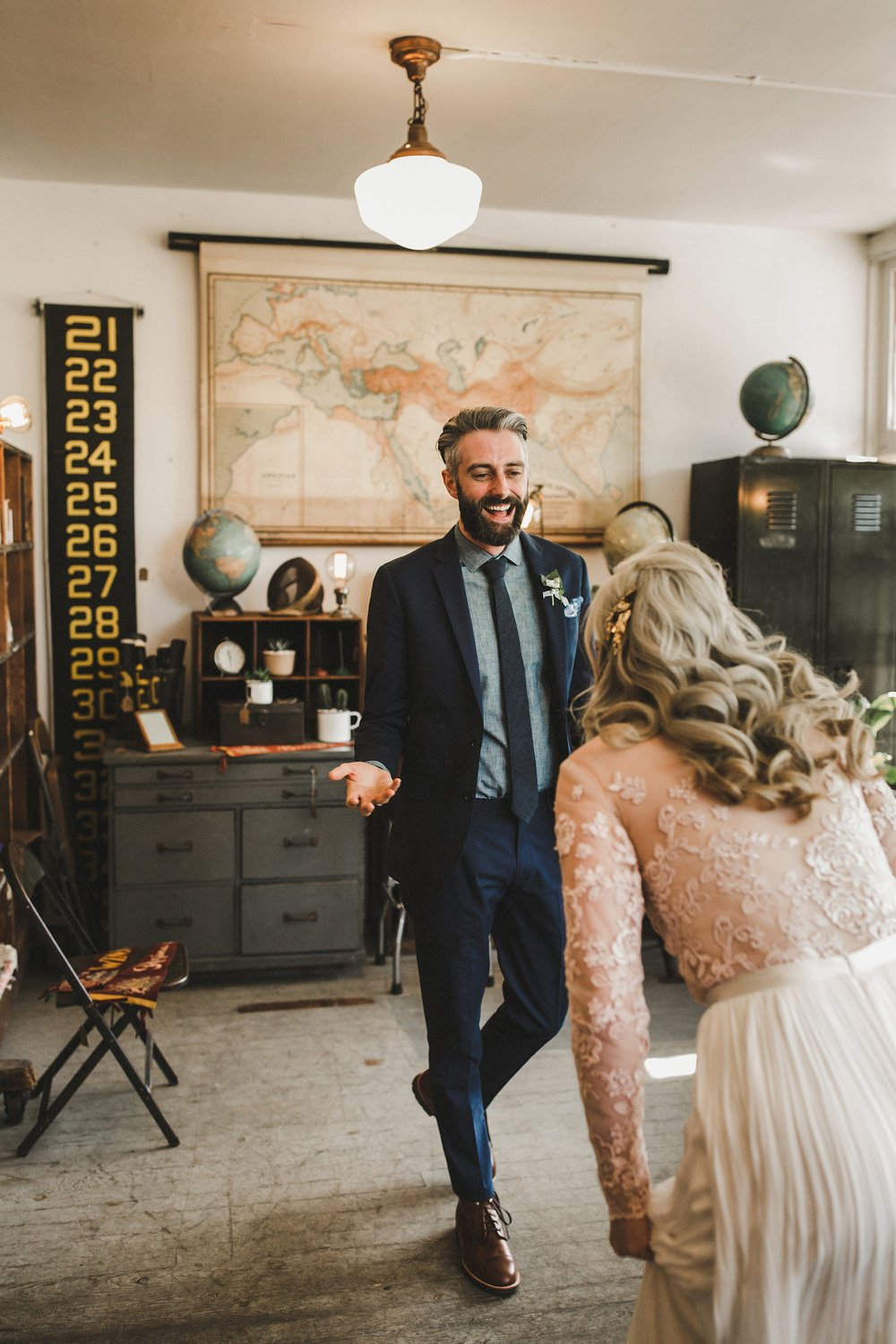 HOWE ABOUT FOREVA - Vancouver urban woodshop wedding by Shari + Mike photographers - first look