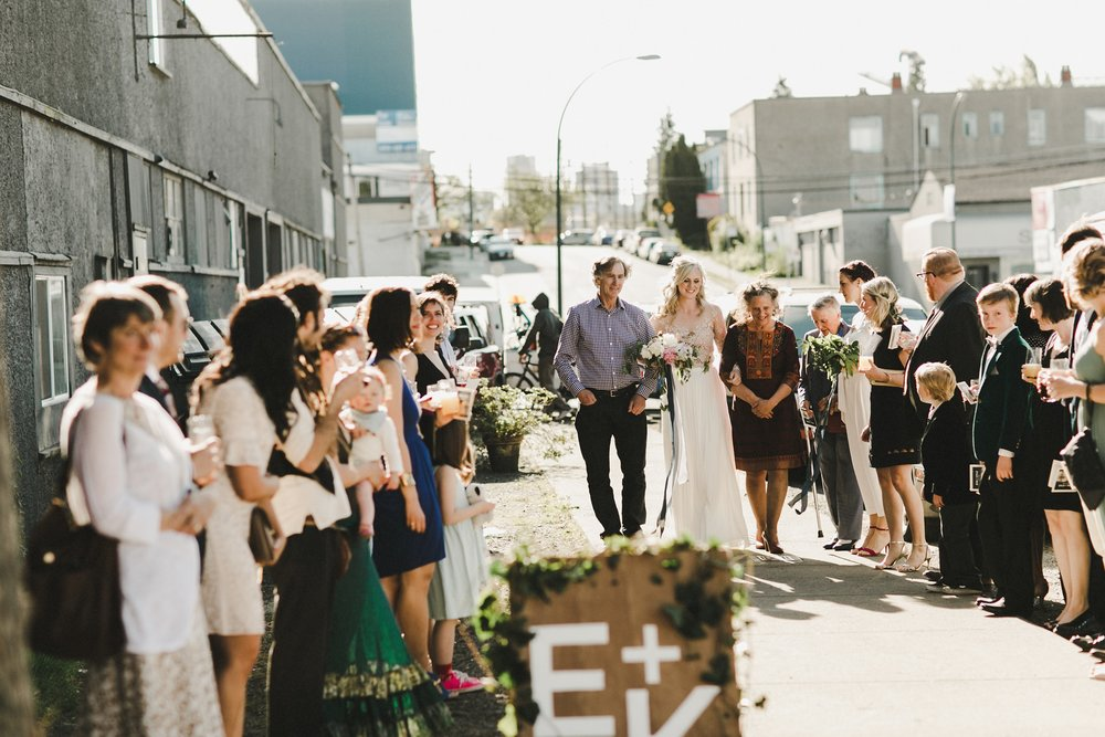 HOWE ABOUT FOREVA - Vancouver urban woodshop wedding by Shari + Mike photographers - alternative ceremony