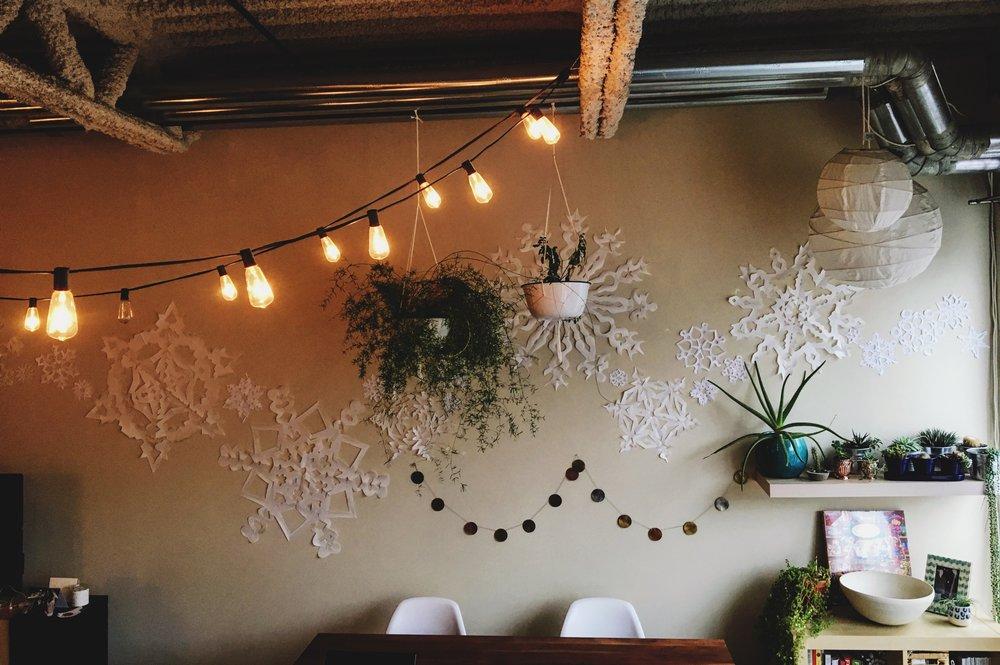 DIY Giant Snowflake wall decor for the holidays