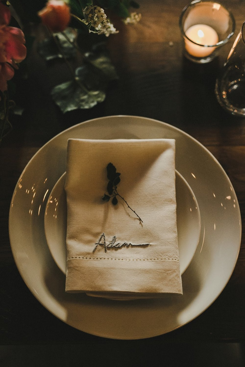 HOWE ABOUT FOREVA - Vancouver urban woodshop wedding by Shari + Mike photographers- hand embroidered napkins