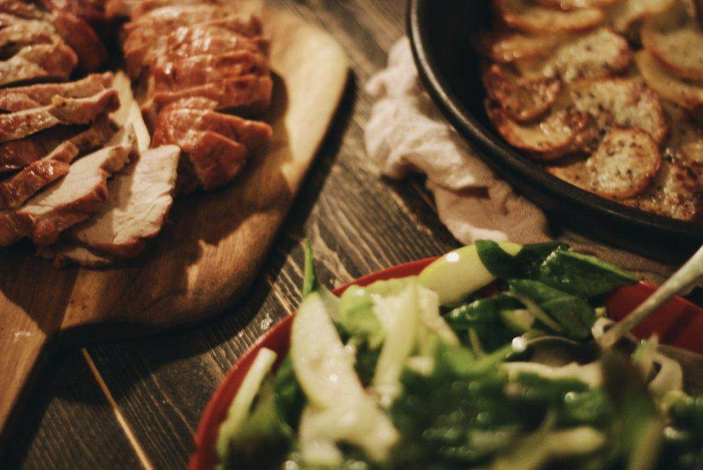 A Festive Friendship Feast for the holidays- potatoes anna + stuffed pork + shaved fennel salad