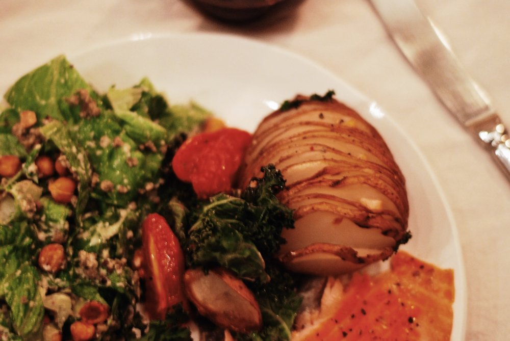 Early Spring dinner - Oh She Glows Vegan Ceasar Salad // Green Kitchen Hasselback Potatoes // Roasted Salmon