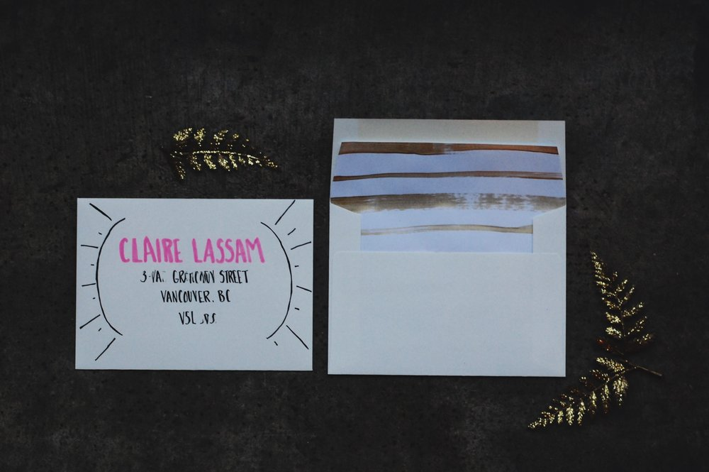 gold and blush invitation suite for goddess brunch