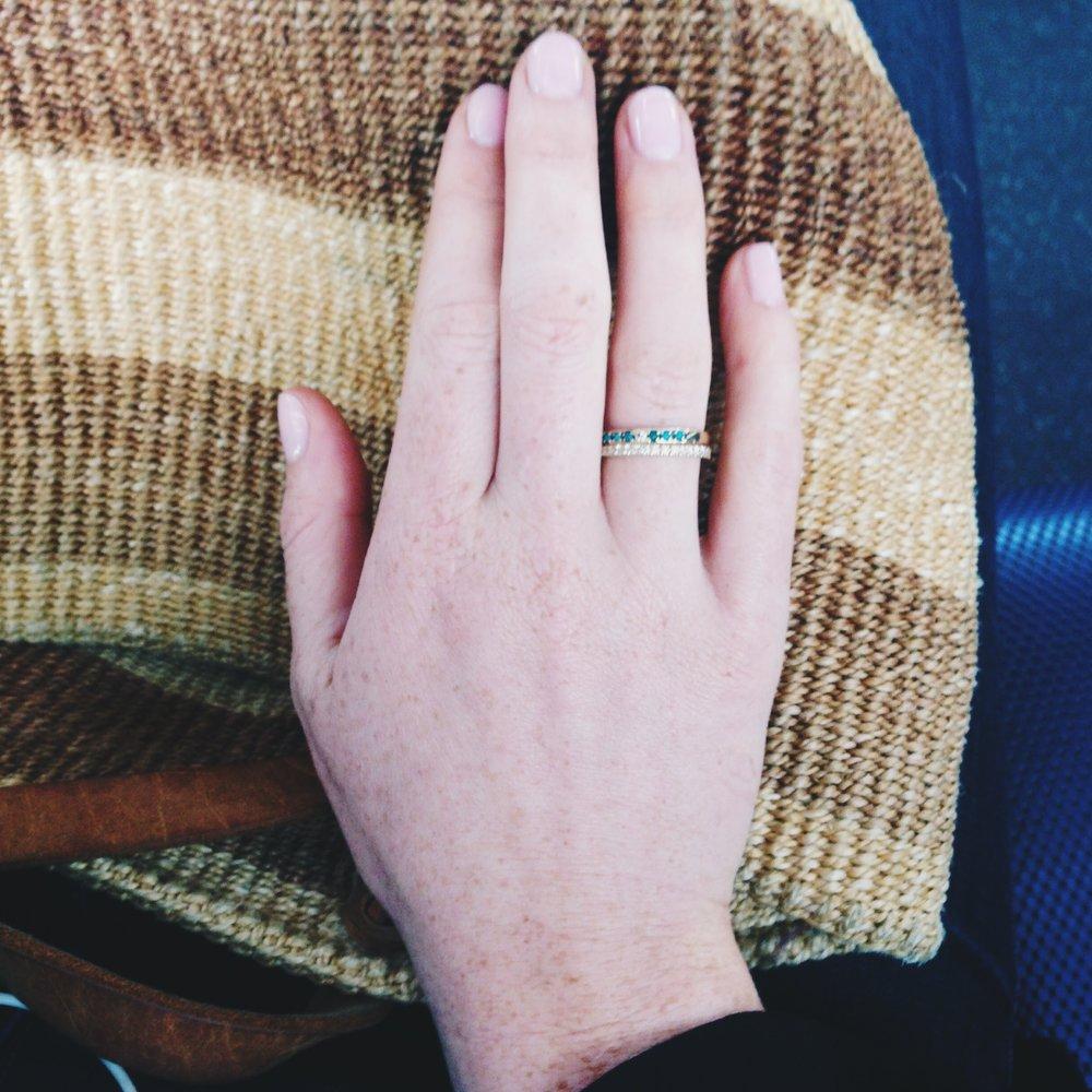 My Feminist Engagement Ring, Tiffany's diamond band, Mociun antique diamond and turquoise band