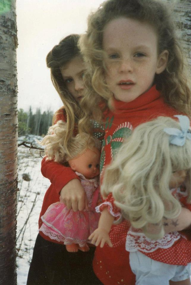 Matching sister outfits in the 90s for Christmas