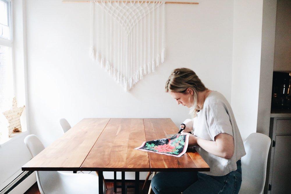 Cutting Christmas fabric