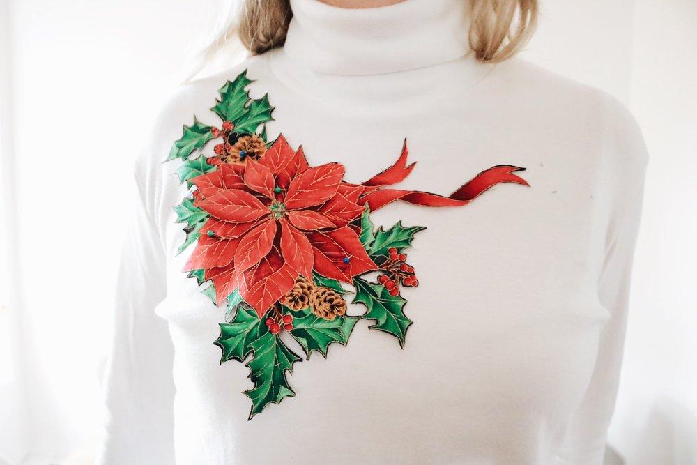 Pin on Christmas fabric Appliqué for ugly Christmas turtleneck