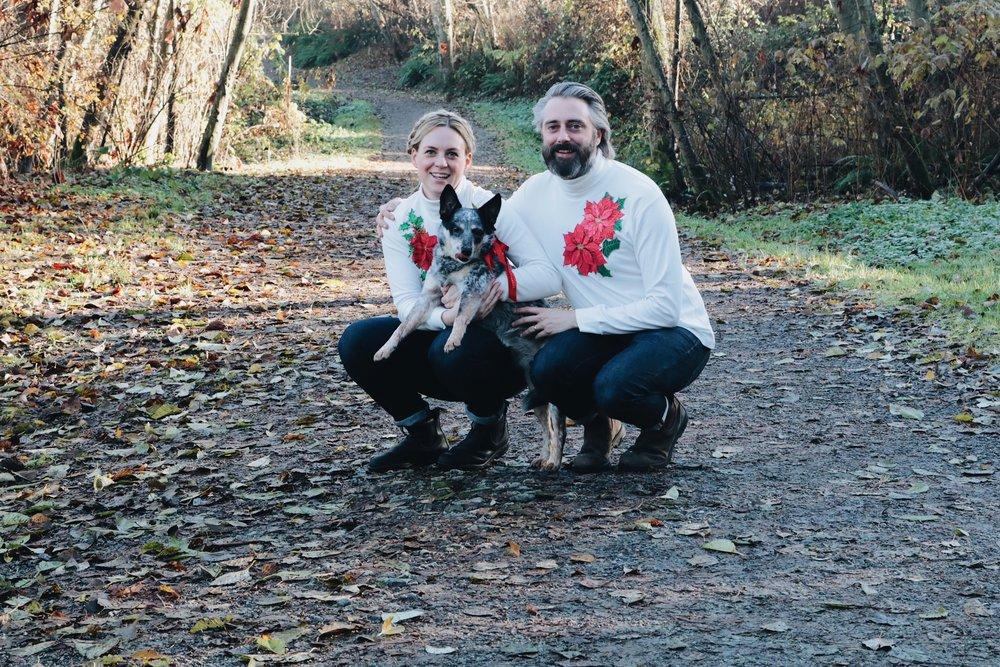 Modern family Christmas portrait