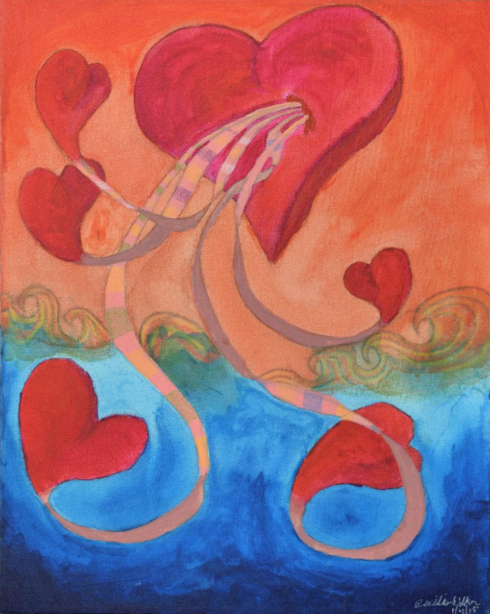 """""""HEARTS"""" 16x20, Acrylic on Canvas, $108"""