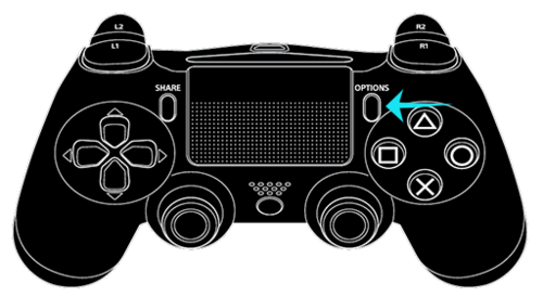 OPTIONS button on the DUALSHOCK 4 controller