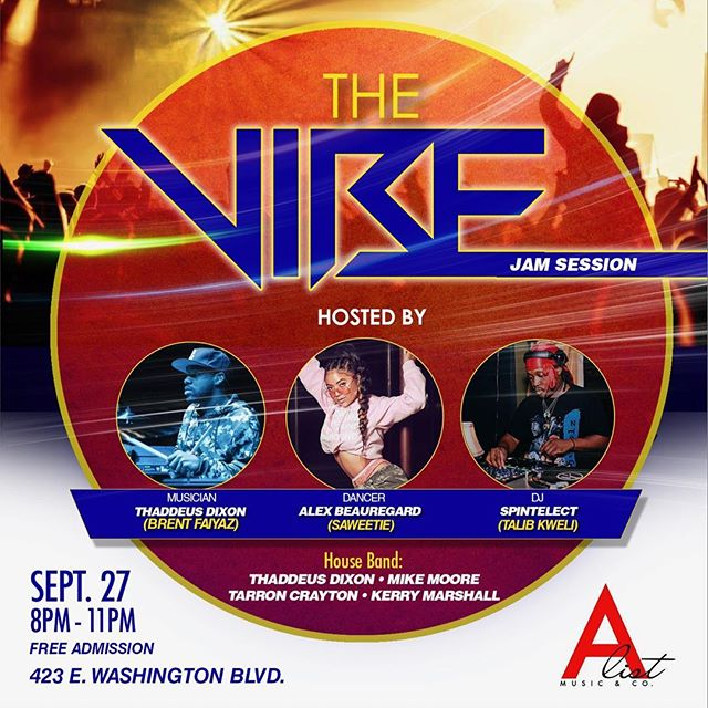 "This Thursday ""The Vibe"" will be at our studio @alistmusicco. It's a jam session with a DJ musicians and dancers. Some of the dopest and industry's top musicians and dancers will be there. The house band will be @thaddeusdixon on drums (Brent Faiyaz, AJ Mitchell), @mikemoore84 on keys (Ty Dolla $ign, Kid Cudi), @tarroncrayton on bass (Demi Lovato, Ciara), @kerry2smooth on guitar (Tori Kelly, Ledisi), playing to the sounds of @spintelect (Talib Kweli). @beaulexx (Saweetie, K Michelle) gonna be dancing and a bunch of others. If you're a producer, singer, songwriter, musician, dancer you want to be there even if it's just to network. There will be complimentary drinks too 🍻. Be there, it's going to be a vibe. #TheVibe #JamSession #LA #DTLA #losangeles #musician #singer #songwriter #producer #drummer #drums #keyboard #keyboardist #bass #bassist #bassplayer #keyboardplayer #guitarist #guitar #guitarplayer #dancer #dance"