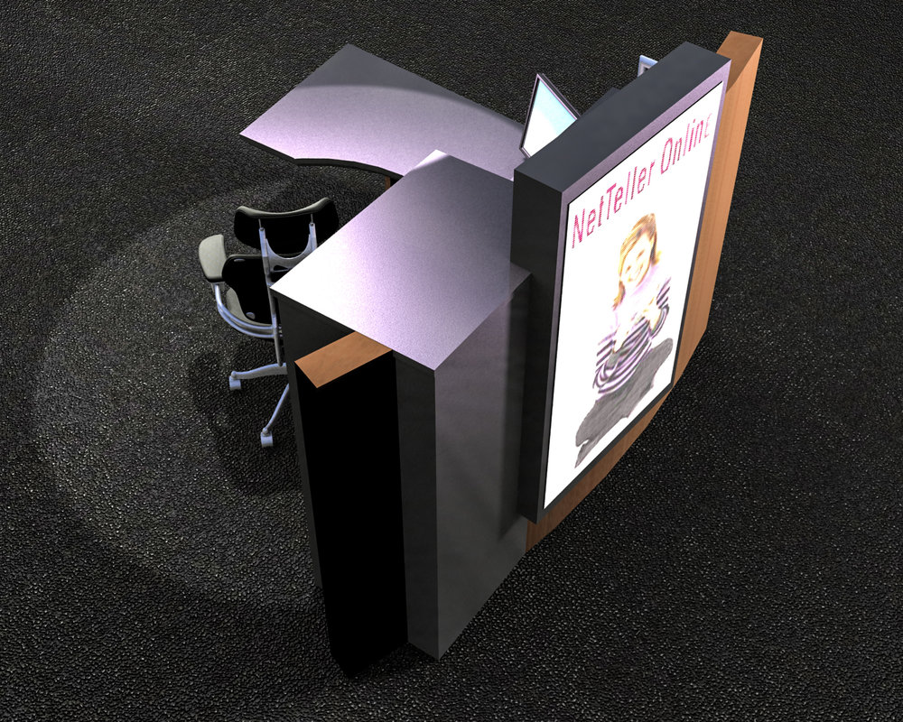 S.F. Bank: Model -- Platform desk and display concept