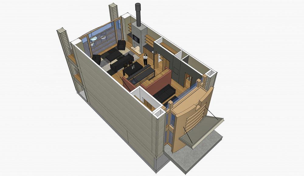 Lux Apartments: Model -- Unit concept third floor cut-away