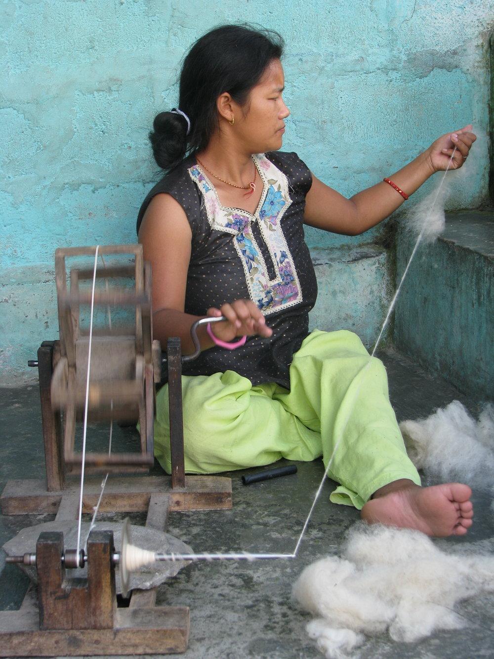 Hand spinning Tibetan wool