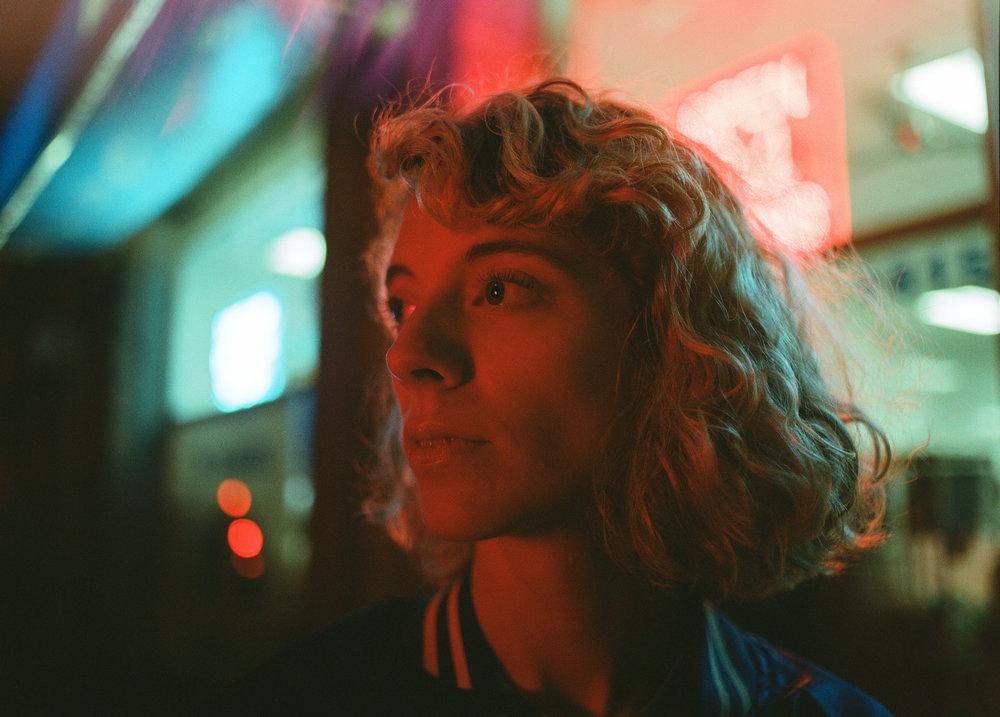 Mallory in mixed neon & led - Kodak Portra 800