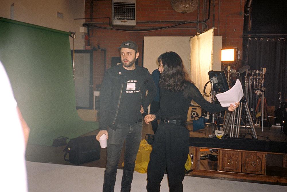 On set with director Michelle Zauner at Flash Monkey Studios
