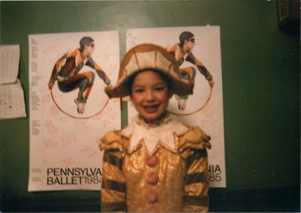 """11-yo Vikki as a Polichinelle in Pennsylvania Ballet's """"Nutcracker"""" circa 1984."""