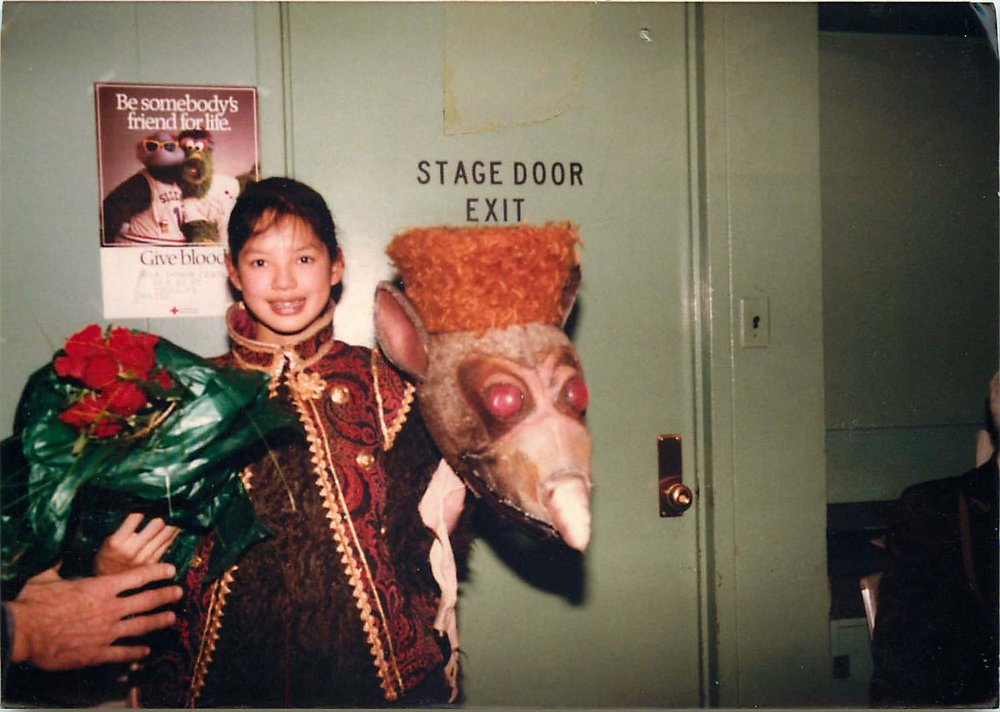 My least favorite Nutcracker role, a Mouse. Not only did I have to wear this huge and sweat-inducing costume, no one could actually distinguish me from another Mouse. And, there was no real dancing involved. (No stage makeup necessary since the audience never saw our faces).