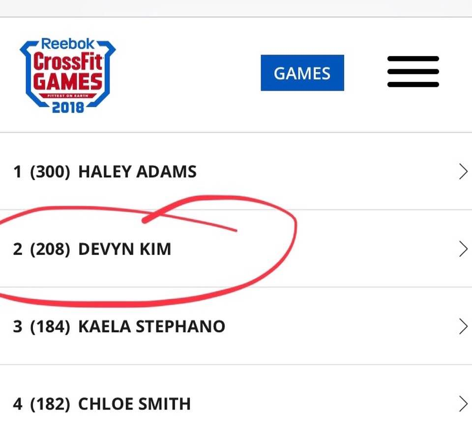 Devyn Kim...sitting in 2nd place after 3 events on day 1.