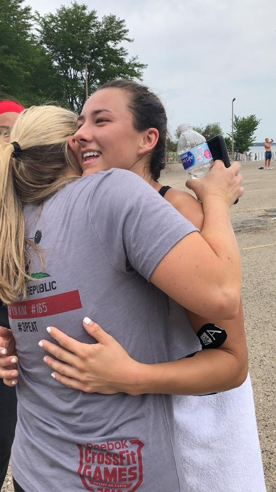 Flashback to Devyn Kim hugging her Momma after her swim event at the 2018 Reebok CrossFit Games.  Photo Credit: Danielle Hale