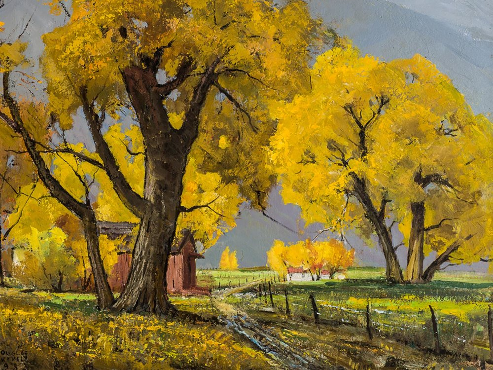 """Fall Trees near Bishop,"" an oil painting by Douglas Shively at John Nichols Gallery (subject to availability)"