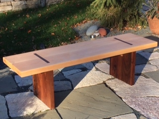 Maple and walnut bench