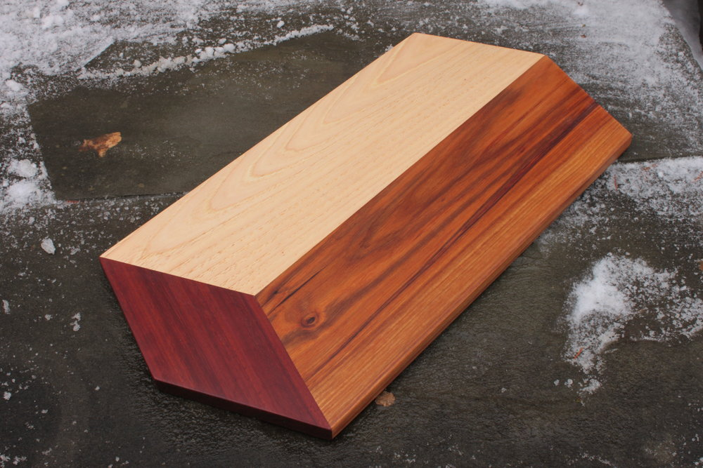 Hickory, canarywood and purpleheart board