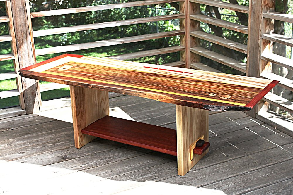 Zebrawood, ambrosia maple and claro walnut coffee table