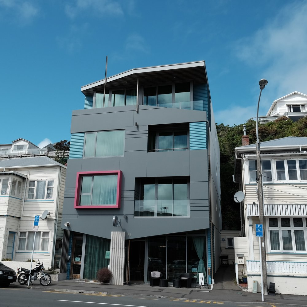 Award-winning Ohtel, in Oriental Parade, Wellington