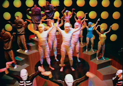 Still from Daft Punk's Around The World music video, directed by Michel Gondry