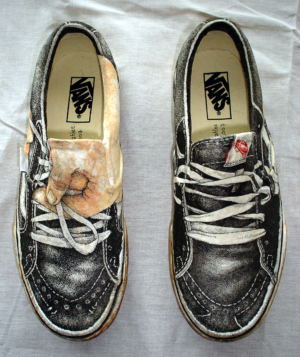 Vans on Vans, ink and mixed media, 2007.