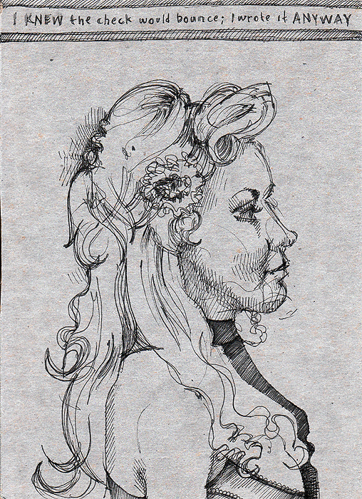 Ilsa in profile, from Dr. Sketchy's OKC, January 2009, ink sketch on cardboard by Sarah Atlee