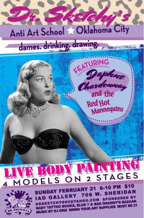 Dr. Sketchy's OKC flyer feat. Daphne Chardonnay