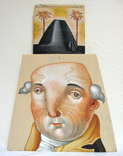 In General, acrylic on found wood, 2008.