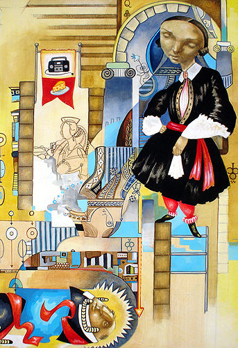 Betty Louise, mixed media on masonite, 2007 by Sarah Atlee