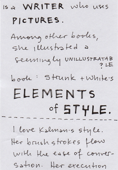 My handwritten post about Maira Kalman, page 2