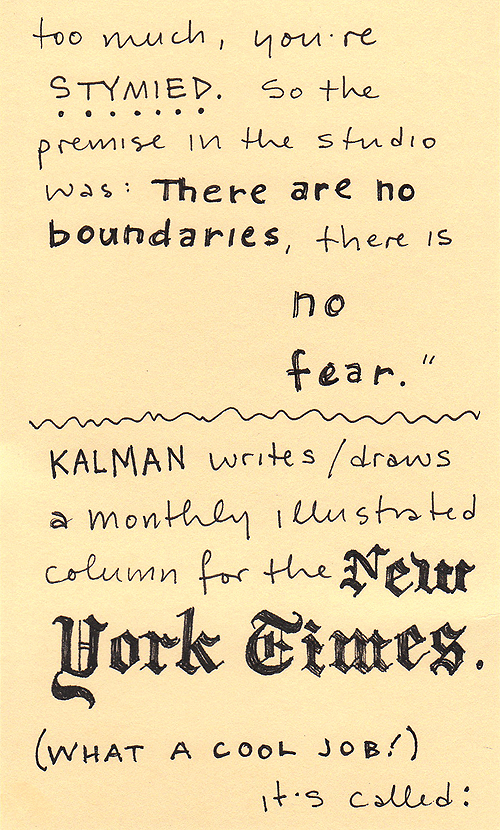 My handwritten post about Maira Kalman, page 4