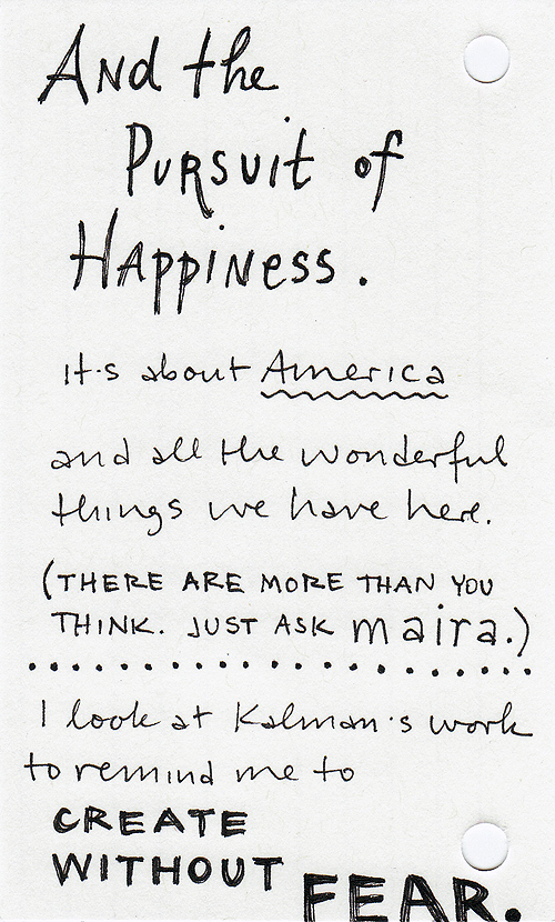 My handwritten post about Maira Kalman, page 5
