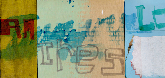 Los Tres, mixed media sketch, 2007