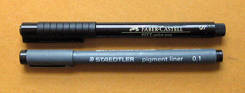 Faber Castell Pitt Artist Pen and Staedtler Pigment Liner