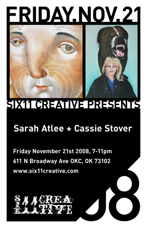 Flyer for Cassie Stover and Sarah Atlee at 611 Creative, OKC. Designed by Dylan Bradway