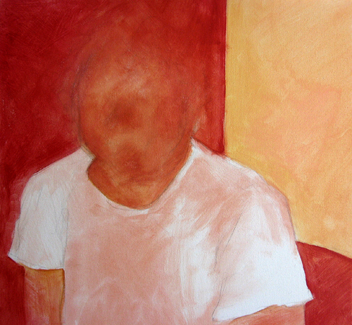 Dave: Red (layer 1), acrylic on canvas, 2008 by Sarah Atlee