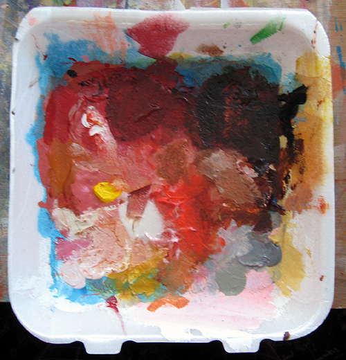 A casualty of The Process: one of my palettes after a painting session.
