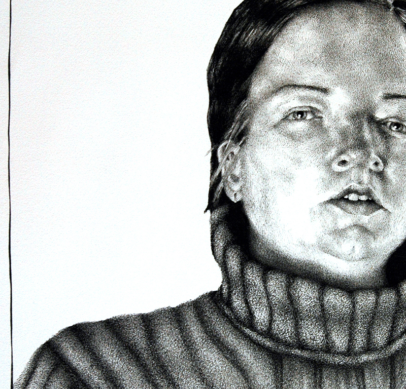 Detail from romy, ink on paper, 2009 by Sarah Atlee. Click image to view full-size.