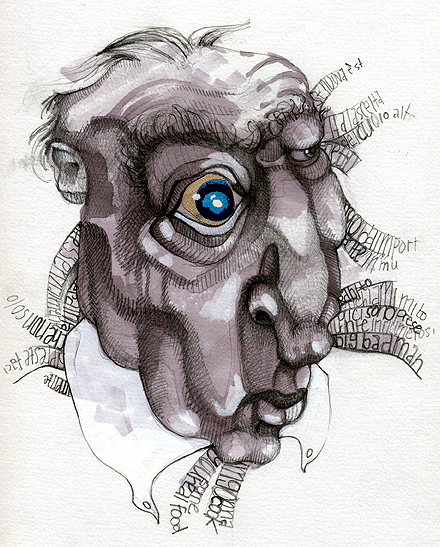 Crotchety Old Man, ink and graphite on paper, 2005