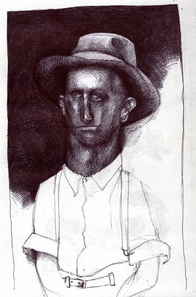 Hat Man, ink sketch by Sarah Atlee