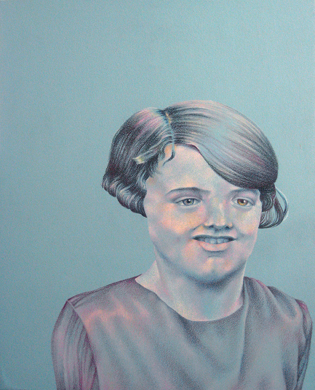 Anonymous Niece, acrylic and colored pencil on Rives BFK, 2009 by Sarah Atlee