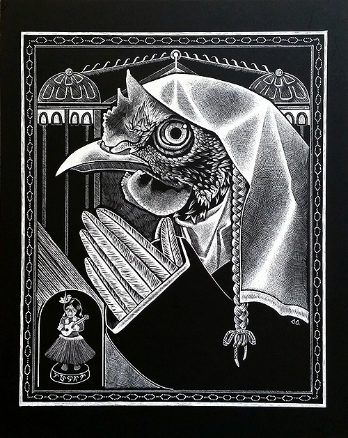 All Things Fowl. Scratchboard, 10 x 8 inches, 2016 by Sarah Atlee